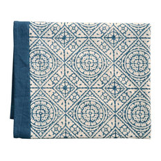 Tiles Organic Cotton Tablecloth, Blue