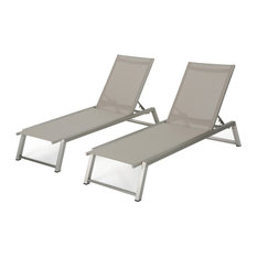 GDF Studio Santa Monica Outdoor Gray Mesh Chaise Lounge With Frame, Set of 2