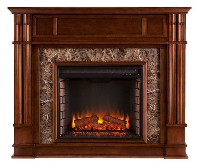 Aragon Faux Stone Electric Media Fireplace Traditional