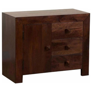 Contemporary Sideboard, Dark Shade Solid Mango Wood With Door and 3-Drawer