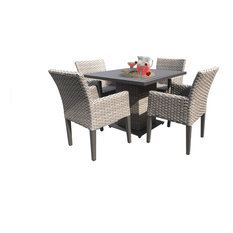 Florence Square Dining Table with 4 Chairs Grey Stone