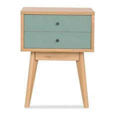 Drawer - Meuble de rangement design scandinave 2 tiroirs Skoll Couleur Turquoise - Table de Chevet et Table de Nuit