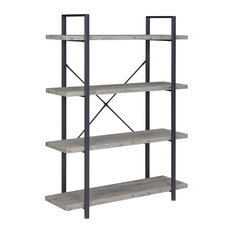 Industrial Bookcase Open Etagere Book Shelf Metal/Wood, Gray Wash, 4 Shelves