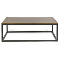 Maxwell Modern Coffee Table, Steel and Mango Wood