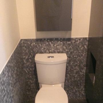 MASTER BATHROOM - Large Wave Tile Shower / Penny Tile Wainscot / Ikea Cabinets