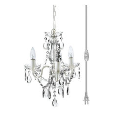 color 3 light mini plugin crystal chandelier white metal frame chandeliers