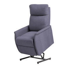 Remote Control Reclining Fabric Electric Lift Chair, Gray