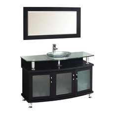 "Contento 48"" Espresso Modern Bathroom Vanity with Mirror"