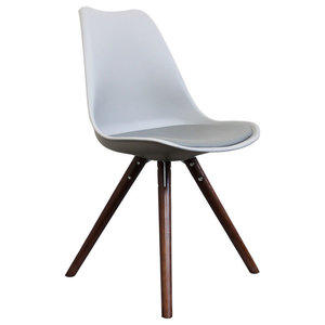 Scandi Style Dining Chair, Pyramid Walnut Legs, Dove Grey