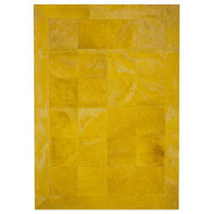 Patchwork Leather Cubed Cowhide Rug, Plain Yellow With Border, 140x200 cm