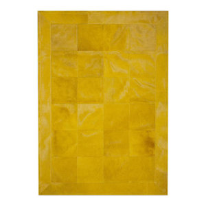 Patchwork Leather Cubed Cowhide Rug, Plain Yellow With Border, 200x300 cm