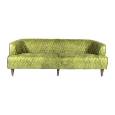 Moe's Home Magdelan Tufted Leather Sofa In Emerald