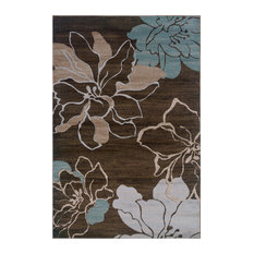 """Linon Rugs Milan Flower Rectangular Area Rug, Brown and Turquoise, 8'x10'3"""""""