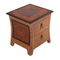Colonial Floral Night Tornillo Wood And Leather Nightstand