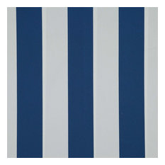 Bache Striped Upholstery Fabric, Marine Blue and White