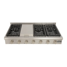 """48 """" Natural Gas Range-Top With Sealed Burners and Griddle,Classic Silver"""