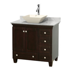 "36"" Acclaim Single Vanity, White Carrera Marble Top and Pyra Bone Porcelain Sink"