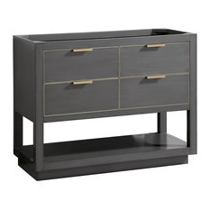 "Avanity Allie 42"" Vanity Only, Twilight Gray With Matte Gold Hardware"