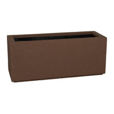 Milan Tall Outdoor Trough Planter, Brown