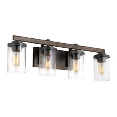 Wall Vanity Lighting, Rustic Faux Wood Frame With Clear Glass Shades, 4 Lights