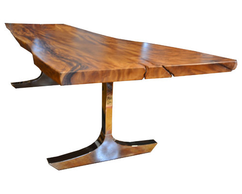 Exotic solid wood stainless steel slab tables for Ss dining table images