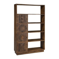 "Crafters and Weavers ""Book"" Bookcase, Rustic Natural, Rustic Brown"