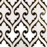 Batik Polished Marble and Brass Tile