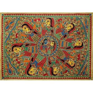 Krishna Leela II Madhubani Painting