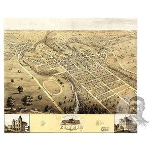 18x24 Akron Ohio 1882 Historic Panoramic Town Map