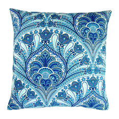 "Outdoor Beach Riptide Throw Pillows, Set of 2, Blue, 18"", Cover and Insert"