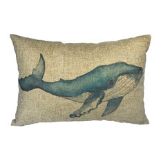 Watercolor Whale Linen Pillow
