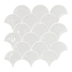 "12""x12"" Glazed Ceramic Fan Mosaic Tile, White"