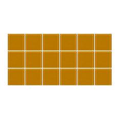 "6""x12"" Caramel Brown Glass Tile, Half Sheet, Grid"