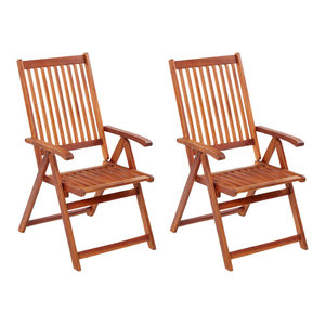 vidaXL Outdoor Dining Chairs With High Back, Set of 2, Acacia Wood