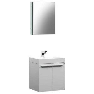 "22.5"" Alto White Vanity, Medicine Cabinet Sillaro Brushed Nickel Faucet"