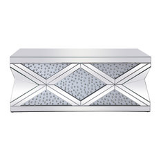 47.5-inch Mirrored Rectangle Crystal Coffee Table