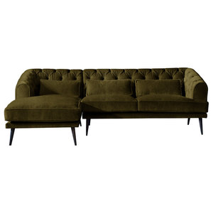 Earl Grey Chaise Sofa, Peridot, 3 Seater, Left Hand Facing