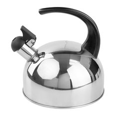 Brushed Stainless Steel Whistling Tea Kettle, Arc Handle, Silver, 2 Liter
