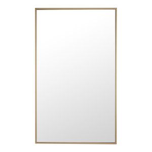 "24""x40"" Rectangle Metal Frame Mirror, Brass"