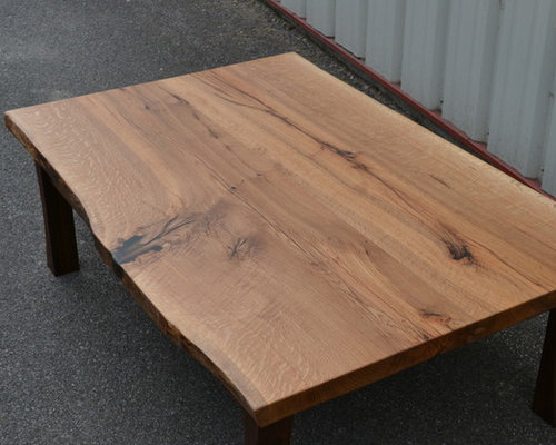 Live Edge White Oak Coffee Table With Curved Walnut Frame