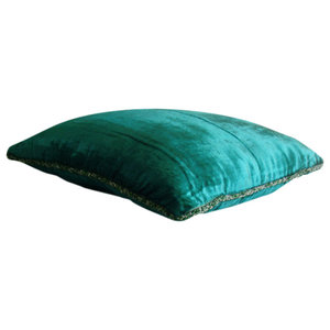 Royal Peacock Green Shimmer, Green Velvet 30x30 Cushions Cover