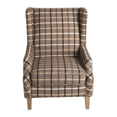Coaster Fine Furniture   Upholstered Rustic Style Wingback Chair With Plaid  Design   Armchairs And Accent