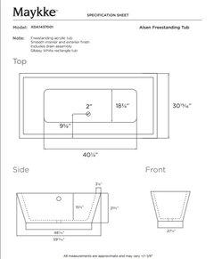 alsen rectangle freestanding bathtub white acrylic 59