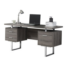 MOD - Osaka Contemporary Computer Desk With 3 Drawers, Dark Taupe - Desks and Hutches