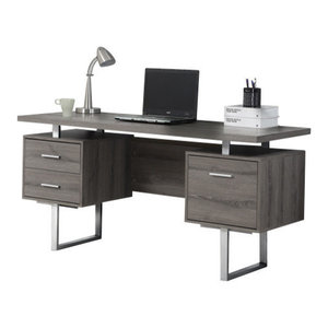 "60"" Silver Metal Computer Desk, Dark Taupe"