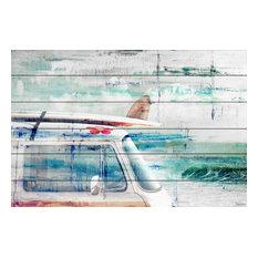 """Beach Trip"" Painting Print on White Wood, 45""x30"""