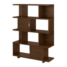 Madison Avenue Etagere Bookcase With Doors In Modern Walnut - Engineered Wood