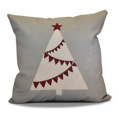 "Decorative Holiday Outdoor Pillow Geometric Print, Gray, 16""x16"""