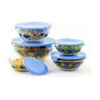 10 Piece Glass Bowls, Blue Flowers