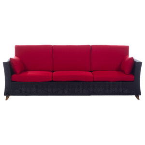 Rattan Deep Seating Sofa and Cushions, Red